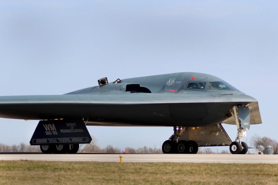 One of three Air Force Global Strike Command B-2 Spirit bombers returns to home base at Whiteman Air Force Base in Missouri