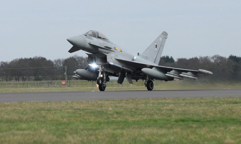 British Royal Air Force (RAF) Eurofighter Typhoon aircraft head t