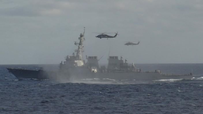Möglicher Militärschlag gegen Syrien: Der amerikanische Lenkwaffenzerstörer USS Stout (DDG 55) im Atlantik (Archivfoto). Das Schiff wurde vor Kurzem ins östliche Mittelmeer beordert.