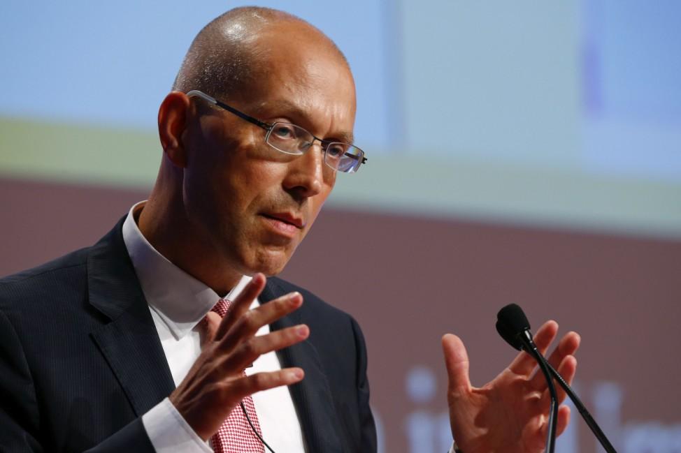 Executive Board Member of the European Central Bank (ECB, Jorg Asmussen speaks during the annual meeting of the German business newspaper Handelsblatt in Frankfurt