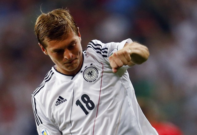 Germany's Kroos celebrates during their 2014 World Cup qualifying soccer match against Austria in Munich