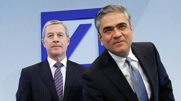 Jain and Fitschen, Co-Chairmen of the Management board and the Group Executive Committee of Germany's largest business bank, Deutsche Bank AG arrive for the annual news conference in Frankfurt