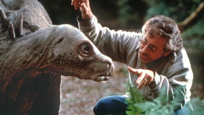 Steven Spielberg bei den Dreharbeiten zu Lost World - Jurassic Park