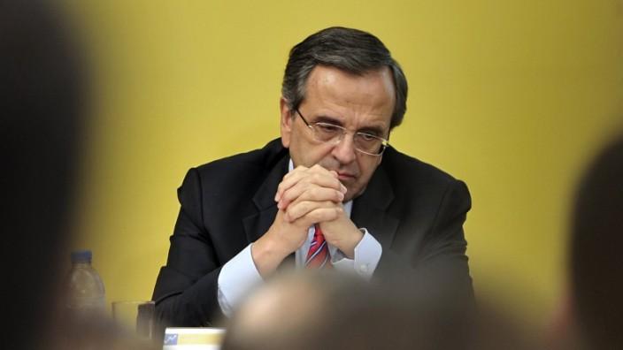 Griechischer Ministerpräsident Samaras: Zuversichtlich sollen seine Worte klingen: Griechenlands Ministerpräsident Samaras