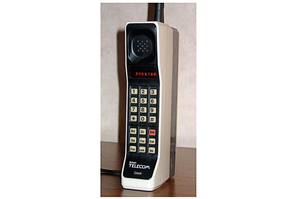 A Motorola DynaTAC 8000X from 1984