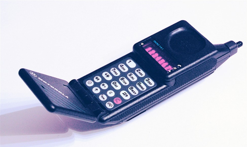 A Motorola MicroTAC 9800x phone from 1989