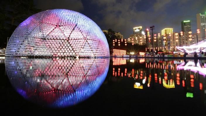 Aufgehender Mond Installation Hongkong Mondfest Victoria Park