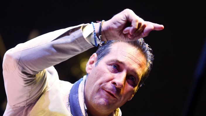Head of Austrian Freedom Party Strache delivers a speech during the final election rally in Vienna