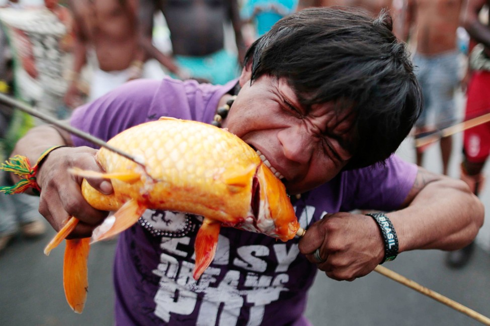 A protester bites a fish caught from the lake in front of the Justice Palace, during a demonstration against PEC 215 in Brasilia