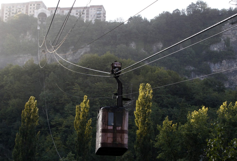 A 60-year-old cable car passes above the town of Chiatura