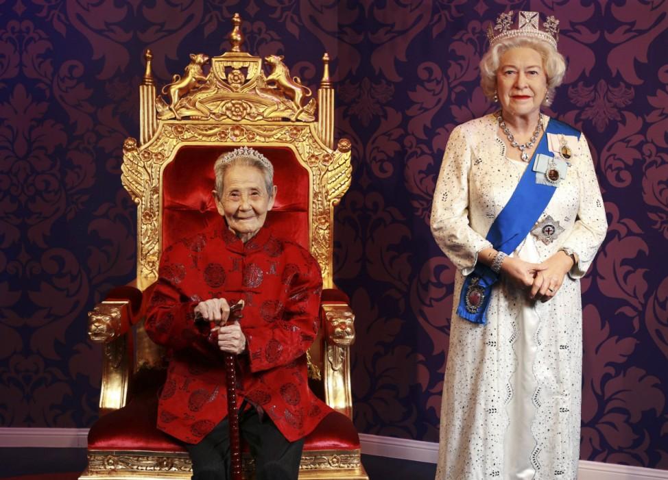 Wachsfigur von Queen Elizabeth in Wuhan