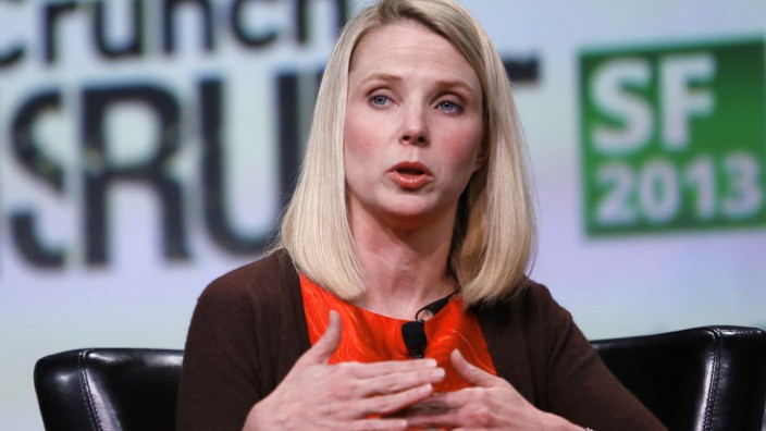 File picture of Yahoo CEO Marissa Mayer speaking on stage in San Francisco