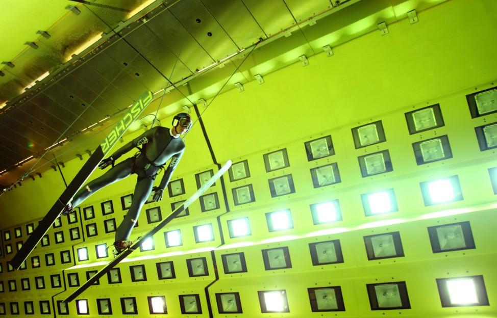 Austrian ski jumper Schlierenzauer makes a test jump into headwind in the Railtec climatic wind tunnel in Vienna