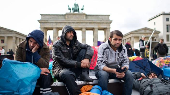 Flüchtlinge am Brandenburger Tor