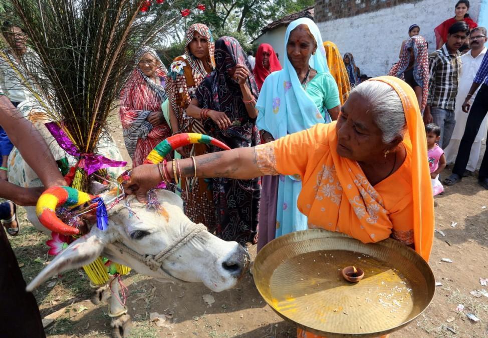 Indien Bhopal Diwali Govardhan Puja