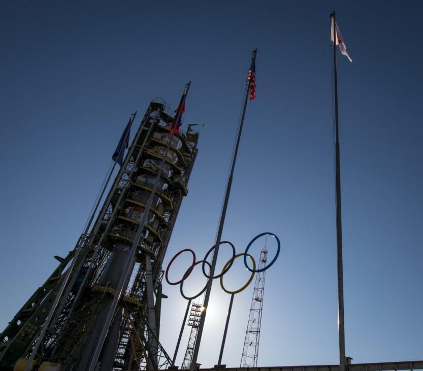 Installation of Soyuz rocket booster