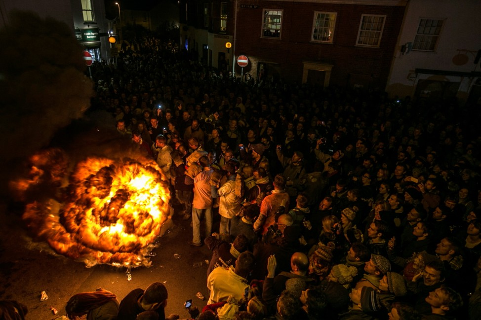 Flaming Tar Barrels Festival Through The Streets Of Ottery St. Mary