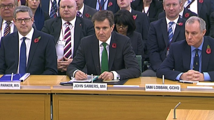 Britain's intelligence chiefs give their first ever public testimony at parliament in London