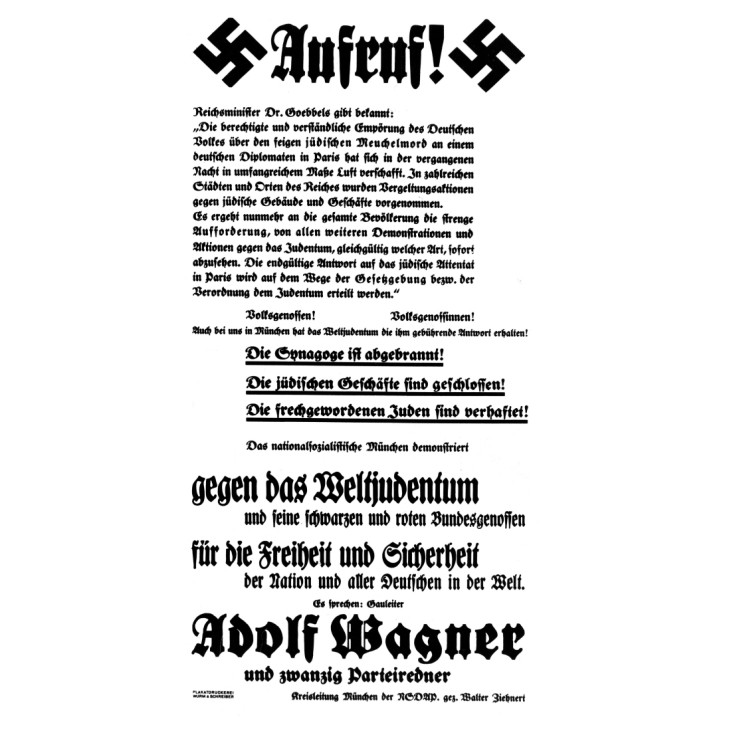 Antisemitisches Plakat nach der Reichskristallnacht | Antisemitic poster after Kristallnacht, 9. November 1938 Pogromnacht
