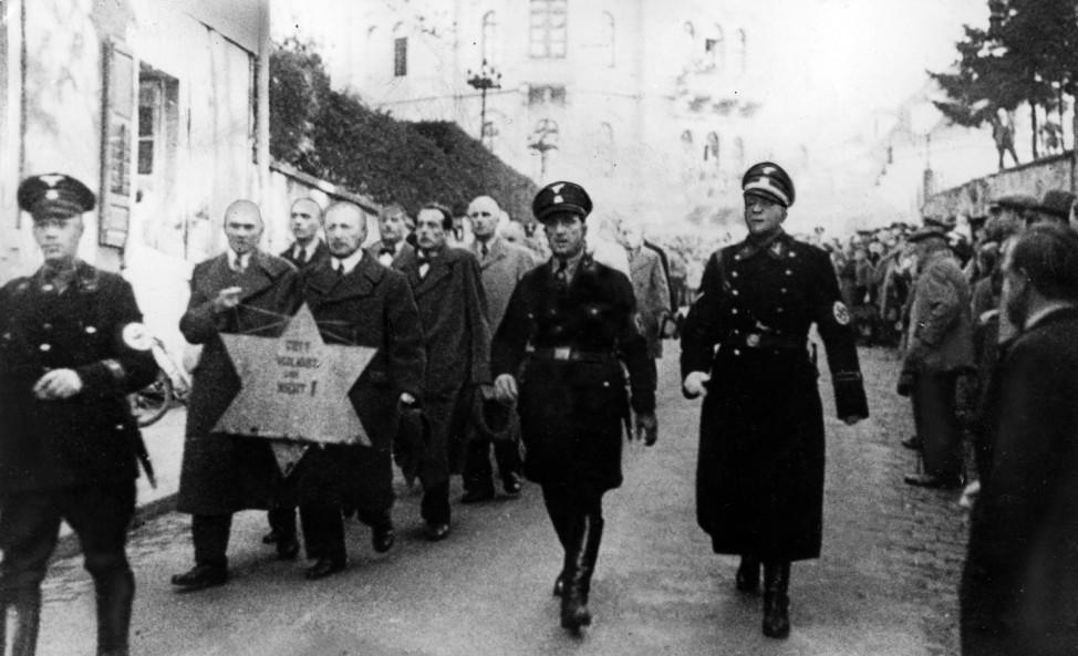 Progrom gegen Juden in Baden-Baden, 1938 | The Jewish pogrom in Baden-Baden following the Kristallnacht, 9. November 1938 Pogromnacht  10th November 1938 (b/w photo)