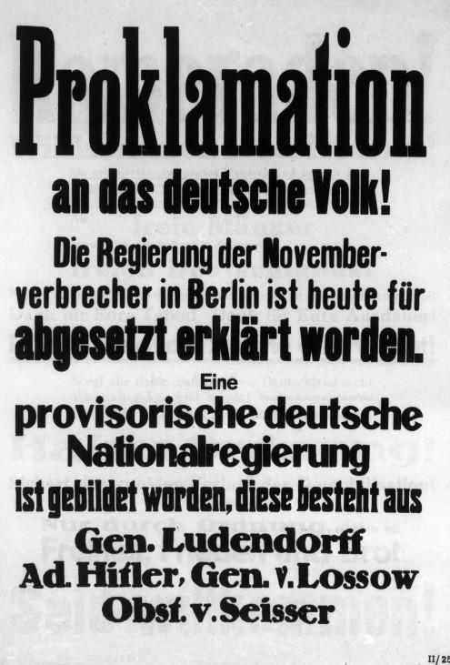 Proklamation zum Sturz der Regierung während des Hitler-Putschs, 1923
