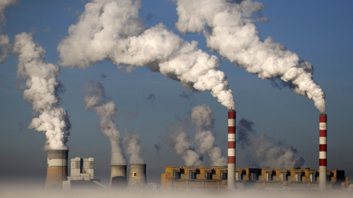 Smoke billows from the chimneys of the Belchatow Power Station