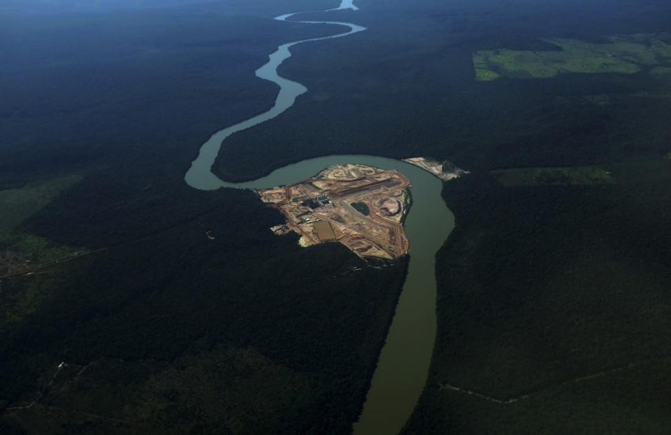 Aerial view of the construction site of a hydroelectric dam along Teles Pires river near Alta Floresta