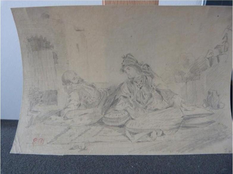 "Gurlitt-Sammlung: Eugène Delacroix: ""Conversation mauresque sur une terrasse"""