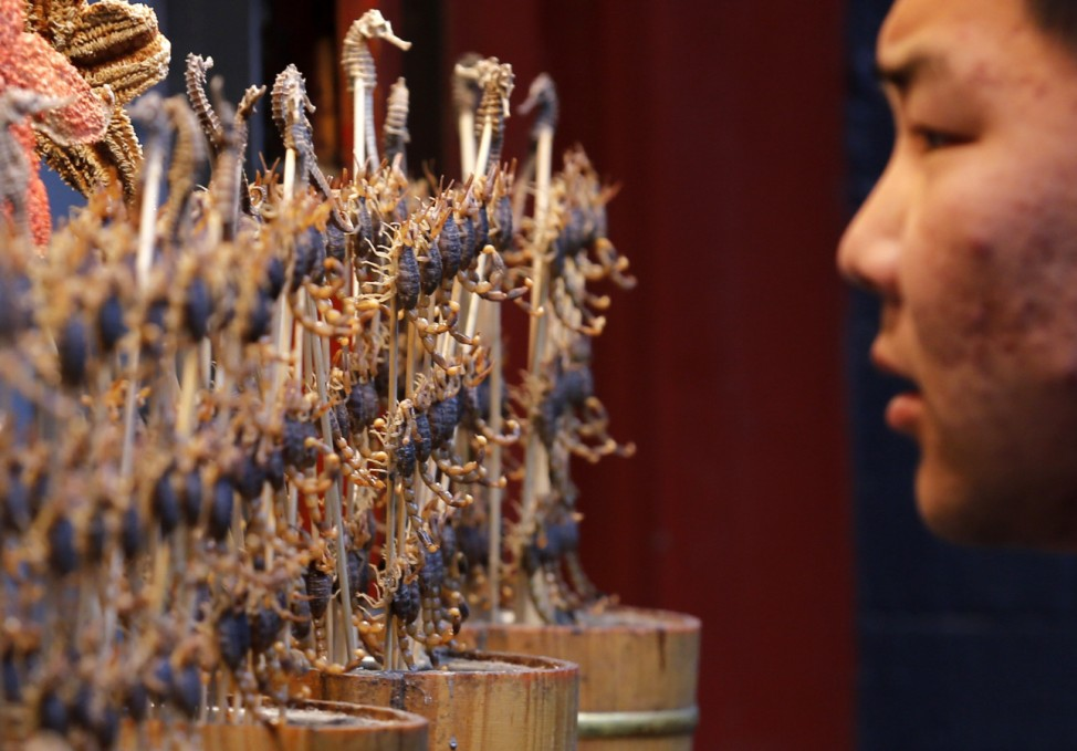 A man looks at sticks of deep-fried scorpions and seahorses displayed in Beijing