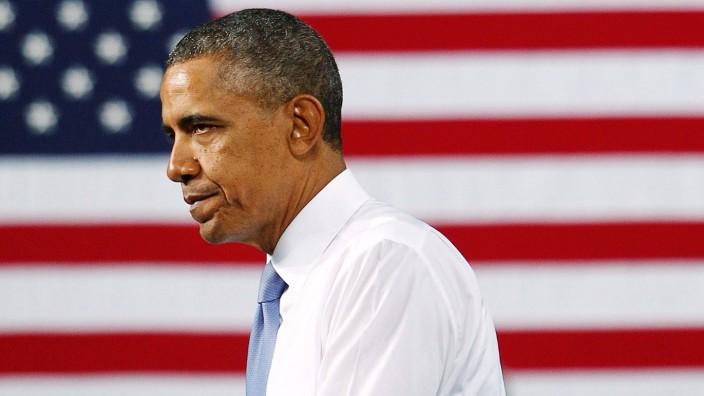 US President Barack Obama speaks in Cleveland, Ohio, USA