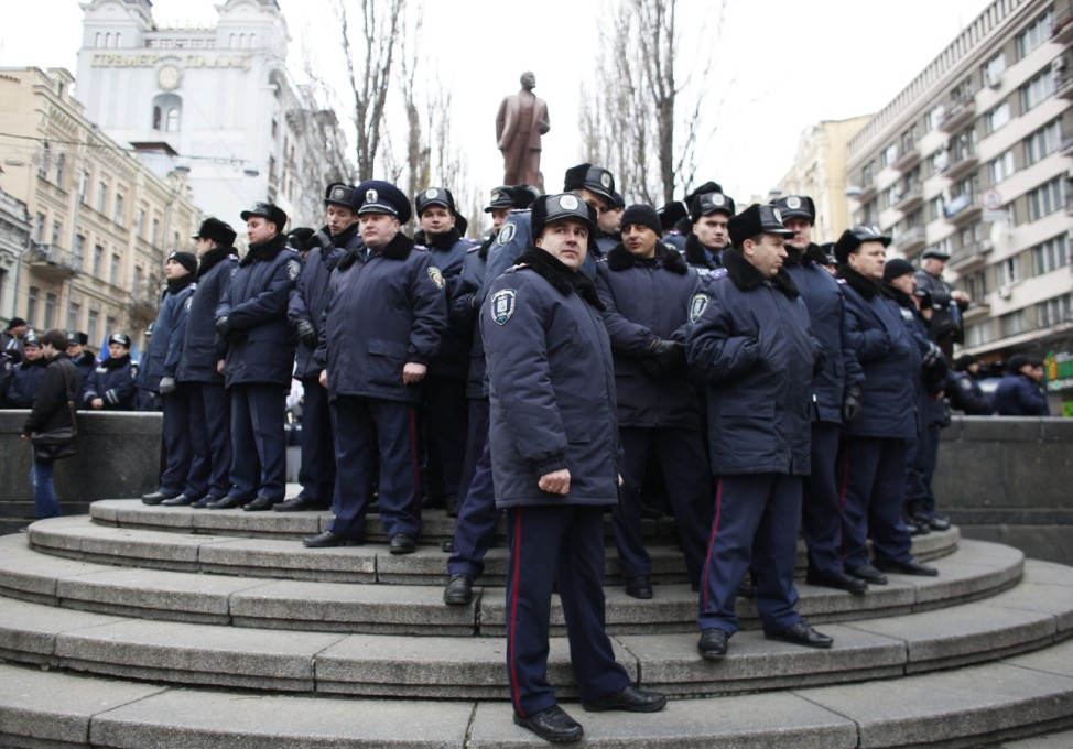 Interior Ministry officers gather during a rally held by supporters of EU integration in Kiev
