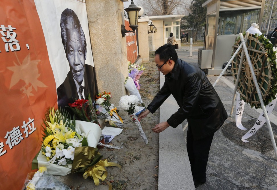 South Africa embassy in China on Nelson Mandela's death