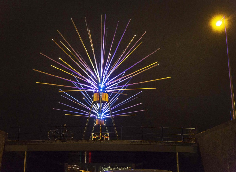 'Astera' by the French collective TILT is pictured on display as part of the Amsterdam Light Festival in Amsterdam