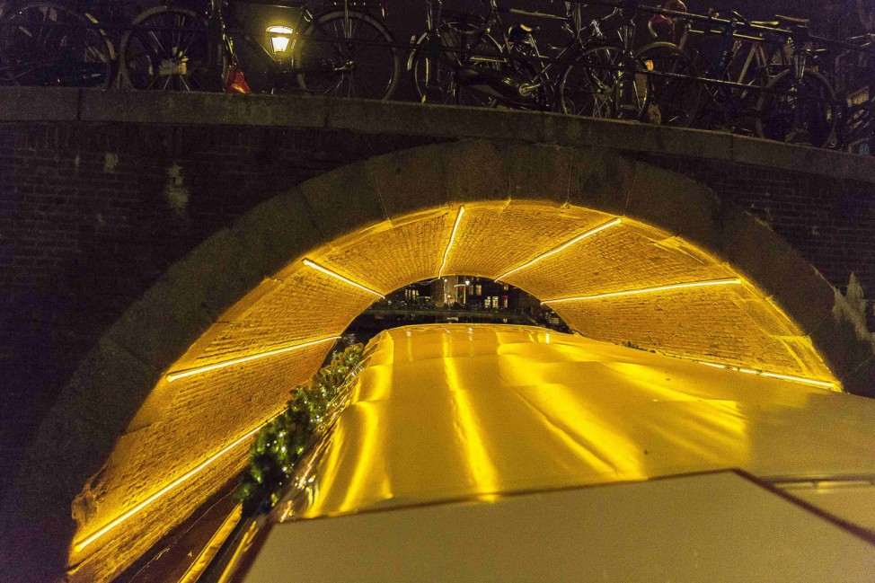 'Light Circle' by Dutch artist Tamar Frank is pictured under a bridge as part of the Amsterdam Light Festival in Amsterdam