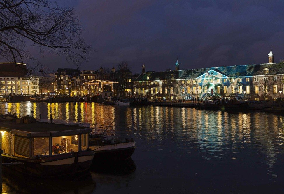 'Reflections', a projection by Austrian artist Teresa Mar, is pictured on the facade of the Hermitage museum as part of the Amsterdam Light Festival in Amsterdam