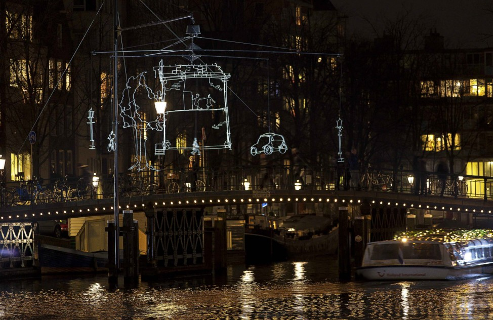 'Drawn in Light' by Dutch artist Ralf Westerhof is seen as part of the Amsterdam Light Festival in Amsterdam