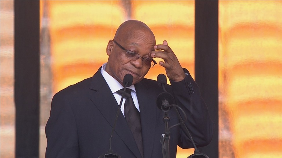 South African President Zuma gestures before making a speech during Mandela's national memorial service in Johannesburg