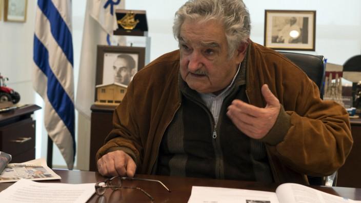 Uruguays Präsident José Mujica: José Mujica während eines Interviews im August 2013 in der uruguayischen Hauptstadt Montevideo.
