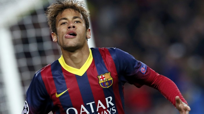 Barcelona's Neymar celebrates after scoring a goal against Celtic during their Champions League soccer match in Barcelona