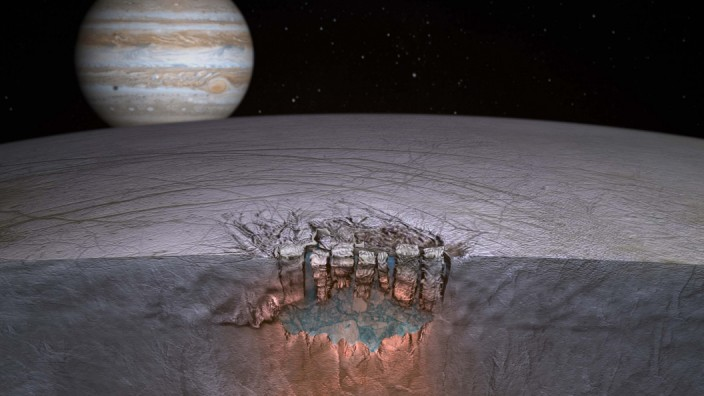 NASA handout image of Jupiter's moon Europa