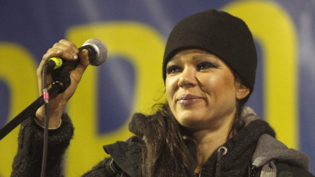Ukrainian singer Ruslana Lyzhychko performs on a stage at a pro-European integration protesters camp at Independence Square in Kiev