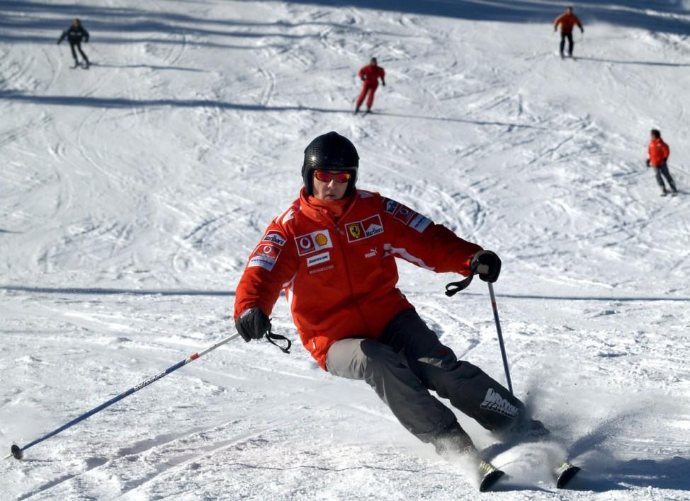 File photo of Formula One world champion Michael Schumacher skiing in the northern Italian resort of Madonna Di Campiglio