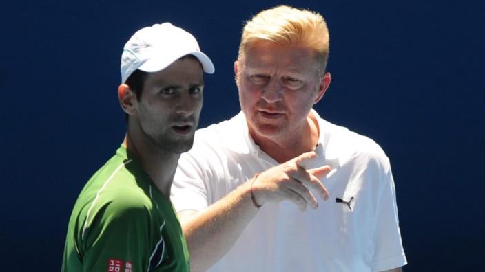 Novak Djokovic of Serbia practice