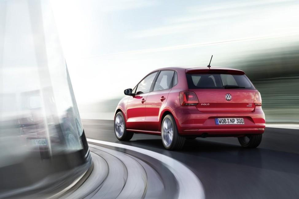 VW Polo 2014 - Heckansicht Fahrbild