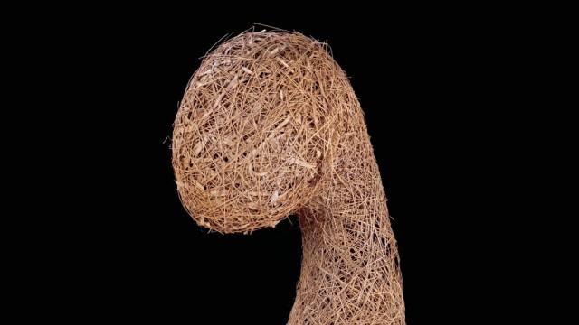 Gras-Skulptur: Nest eines Bajawebers