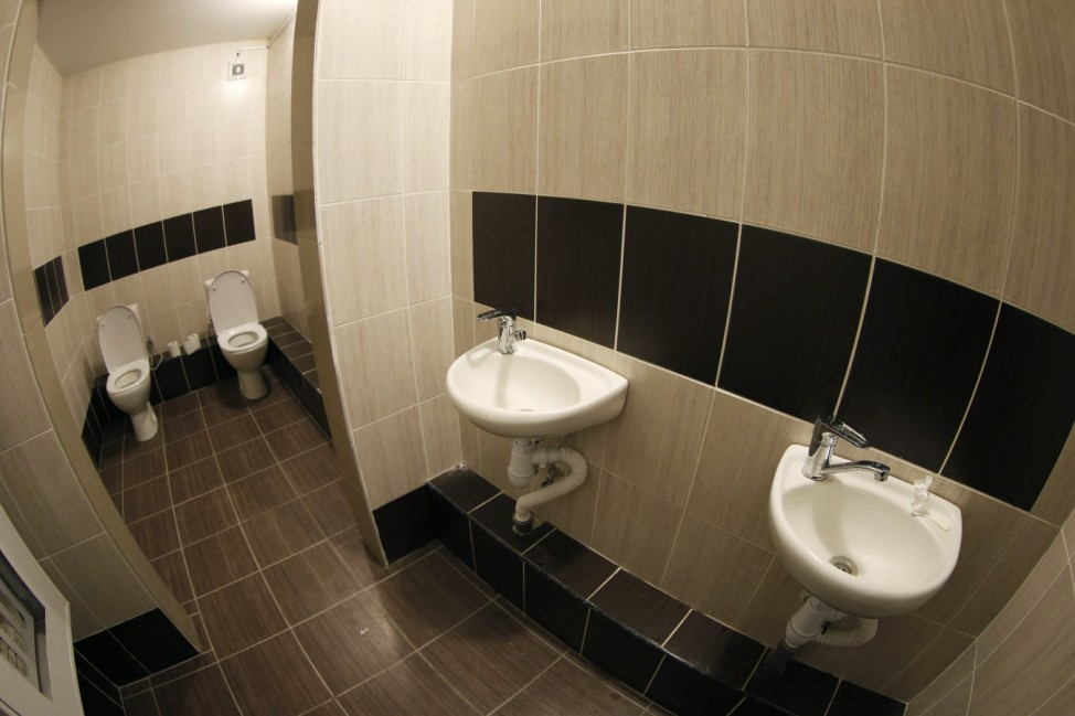 A two-toilet double stall is seen in the lobby of a media hotel as preparations continue for the 2014 Sochi Winter Olympics