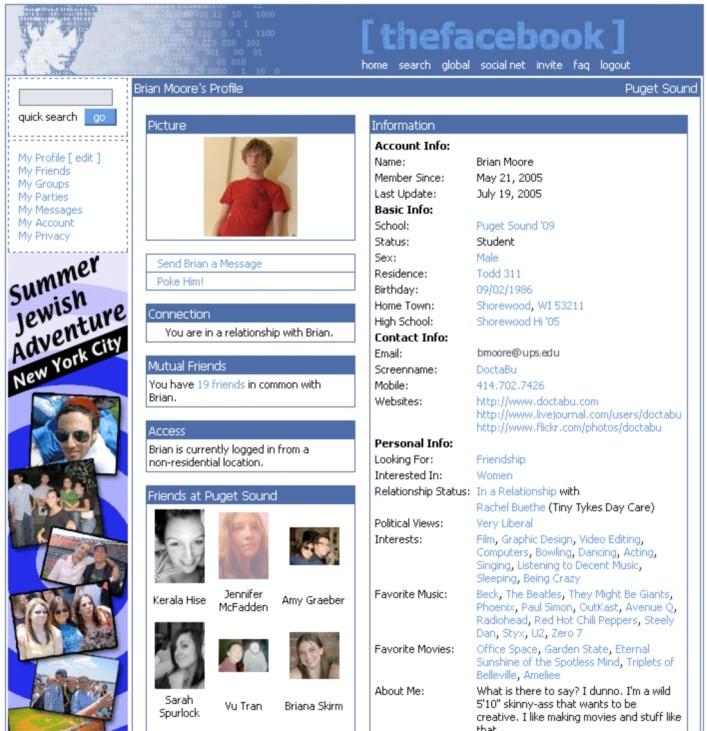 Facebook Profil 2005