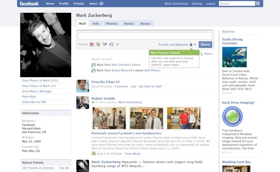 Facebook Profil 2009