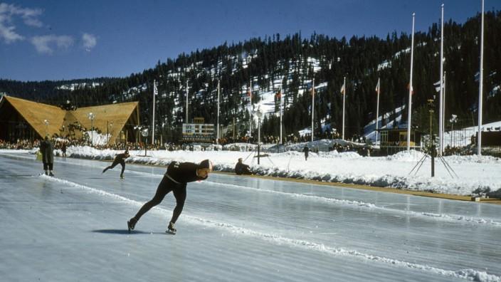 Eisschnellläufer 1960 Olympische Winterspiele Squaw Valley Lake Tahoe Kalifornien USA