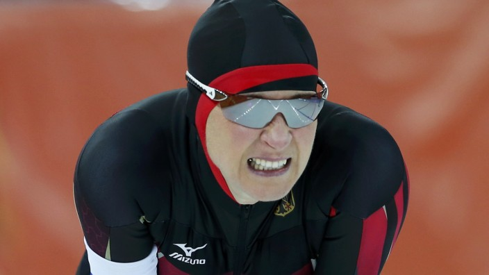 Germany's Claudia Pechstein reacts during the women's 3,000 metres speed skating race at the Adler Arena during the 2014 Sochi Winter Olympics